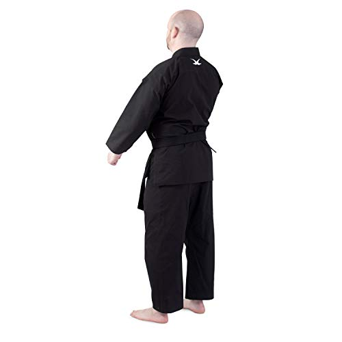 whistlekick Luminary Martial Arts Uniform V2 - Tradtitional-Cut, Slim, Black Karate Gi, Taekwondo with Warranty - Size 2
