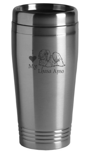 16-ounce Stainless Travel Mug - I Love My Lhasa Apso