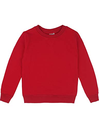Spring&Gege Youth Basic Sport Crewneck Pullover Sweatshirts for Boys and Girls Size 5-6 Years Red (Girls Sweaters Pullover)