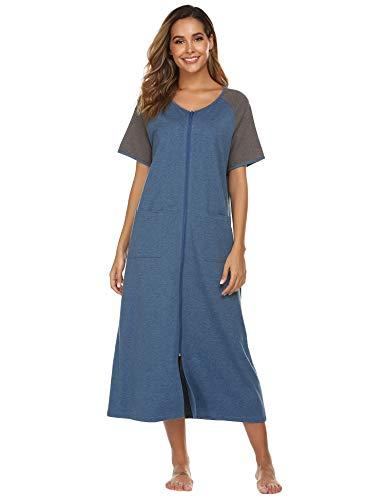 Ekouaer Women Housecoat Zipper Front Long Robes Short Sleeve Contrast Color Sleepwear with Pockets,X-Large ()