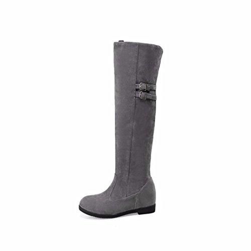 BIKER botas abrasivos con de de altas de BOOTS tamaño invierno cinturón cashmere Botas Gray PqxwaU6Bw