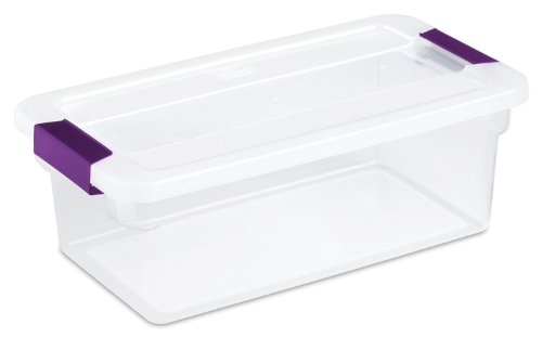 Sterilite 17511712 6 Quart Clearview Latch™ Storage Container With Plum Handles