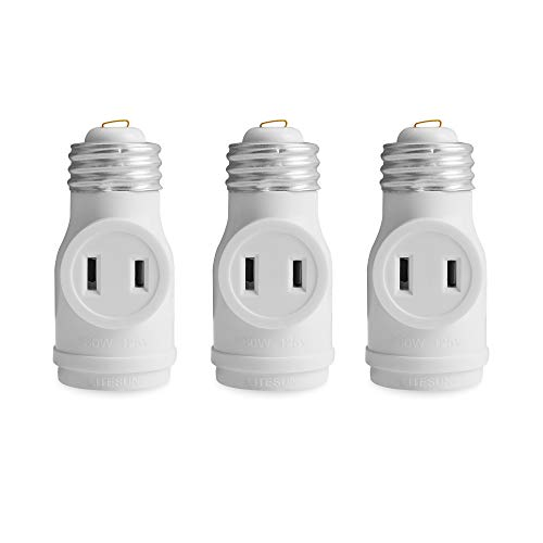 2 Outlet Light Socket Adapter, Dual Polarized Outlet, Lamp Holder, E26 ETL, White, 3 PACK