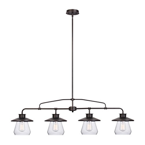 Globe Electric Angelina 4 Light Industrial Vintage Pendant Clear Glass Shades Oil Rubbed Bronze Finish 65382