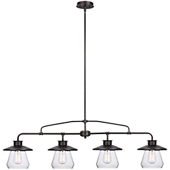 globe electric angelina 4light industrial vintage pendant clear glass shades oil rubbed