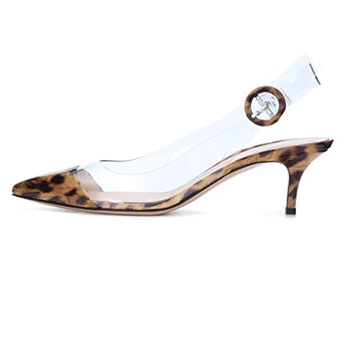 (Sammitop Women's Animal Print Pumps Slingback Kitten Heels 6.5CM Party Office Dress Shoes Leopard US9)