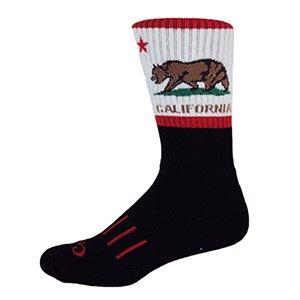 MOXY Socks Black with White CALI Bear Performance Crew Socks
