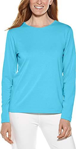 (Coolibar UPF 50+ Women's Long Sleeve Everyday T-Shirt - Sun Protective (X-Large- Aruba Blue))