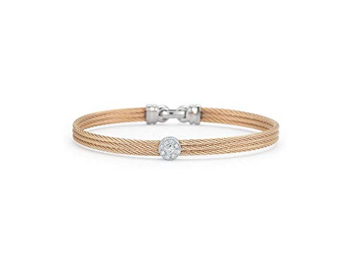 Alor Rose Cable Bangle with White Gold Diamond Station