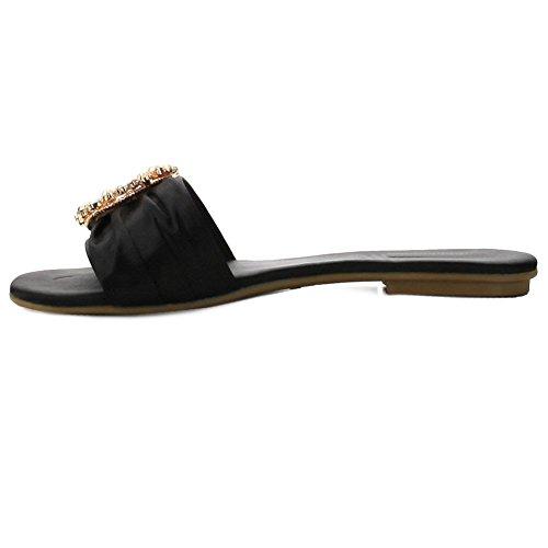 Dames Eenvoudige Enkele Riem Slide Op Platte Slipper Sandaal Zwart Satijn Juwelen
