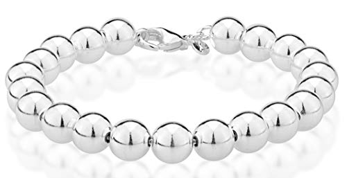 Miabella 925 Sterling Silver Italian Handmade 8mm Bead Ball Strand Chain Bracelet for Women 7, 7.5, 8 Inch Made in Italy - Silver 8 Bead Inch Chain