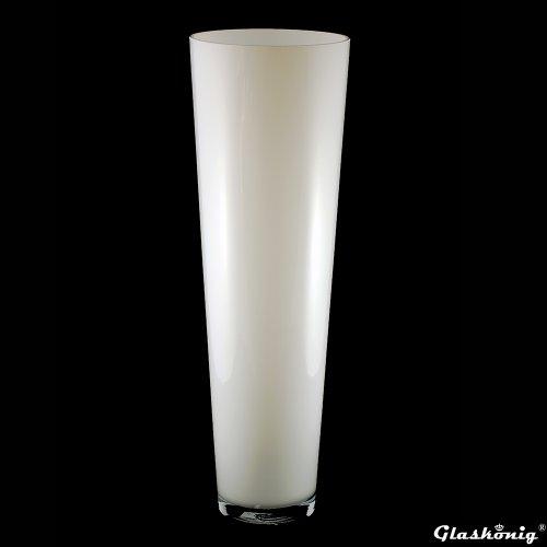 Große Konische Glas-Vase Konischer Zylinder 70cm Ø 22,5cm. Bodenvase in weiß zur Dekoration und als Blumenvase von Glaskönig