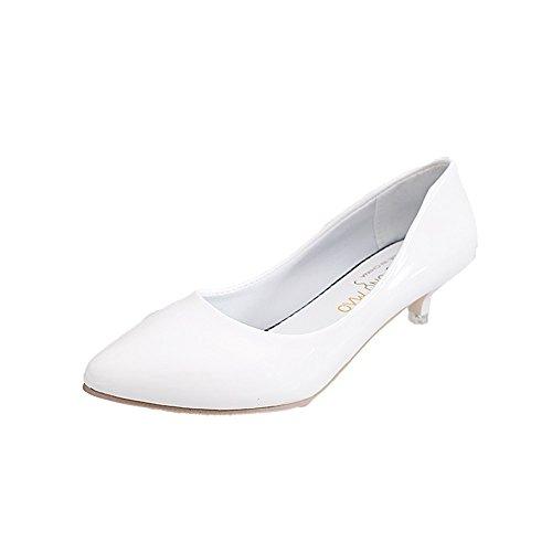 LIVY zapatos de color rosa señalaron los zapatos negros 2017 modelos de verano de grosor con un solo pequeños zapatos de cuero femeninos profesionales Blanco