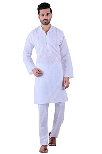 dd57994a0427ba BDS Chikan Cotton White Kurta for men's Lucknowi Chikan Work - BDS00905