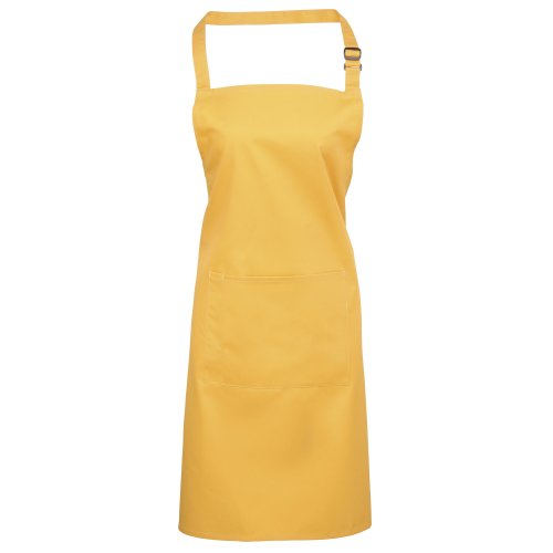 Premier Ladies/Womens Colours Bip Apron With Pocket / Workwear (One Size) (Sunflower) (Kitchen Colours Sunflower)