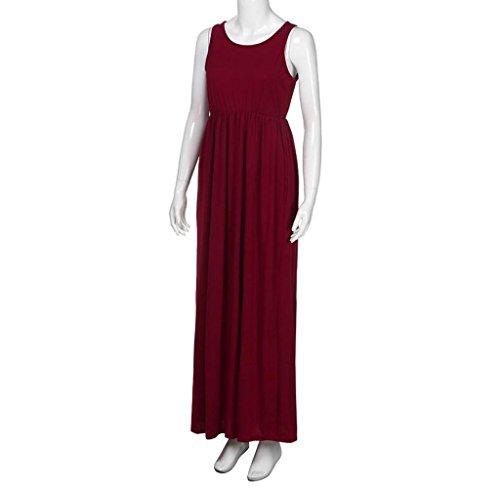 Amcool Damen Solid Long Boho Kleid ärmelloses Trägershirt Strand Sommerkleid Maxikleid Burgundy bJsyxuLVI