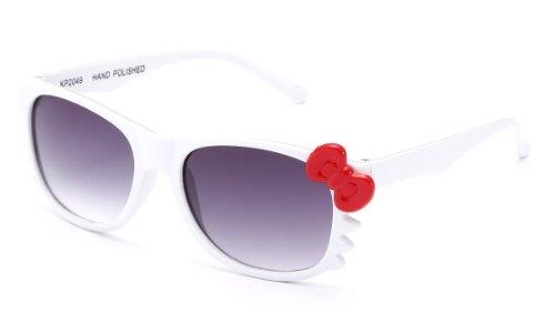 Newbee Fashion - Kyra Kids Retro Hello Kitty w/Bow and Whiskers Lead-Free Girl Sunglasses (0-5 ()