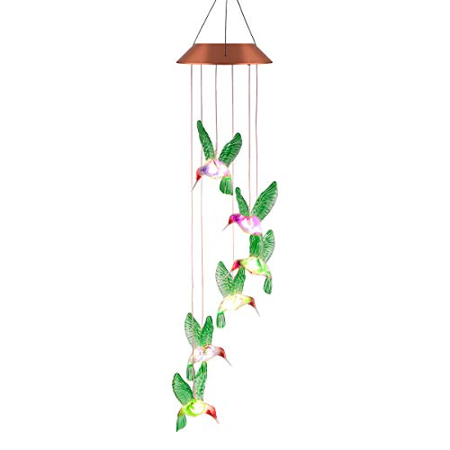 Kearui Solar Wind Chimes Outdoor, Color-Changing Outdoor Waterproof Led Solar Powered Hummingbird Wind Chimes for Home/Party/Yard/Garden Decoration -