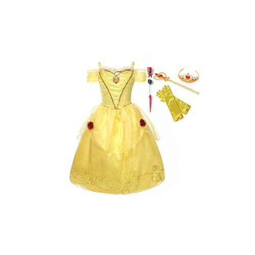 Girl Costume 3 6 9 12 Years Old Beauty and The Beast Belle Kids Off Shoulder Princess Party,Belle Dress Set 01,12]()