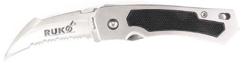 RUKO 3-1/2-Inch Blade Folding Knife with Serrated Edge Aluminum Brushed (3.5 Serrated Edge)