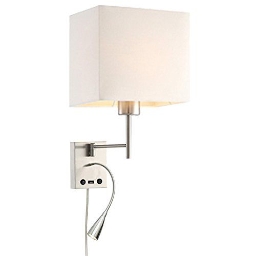 - HomeFocus USB LED Swing Arm Bedside Reading Wall Lamp Light,LED Reading Swing Arm Wall Lamp Light,Wall Sconces,Living Room Wall Lamp,Corridor Wall Lamp,2 Lights 2 Switches LED 3W 3000K and E26 Holder