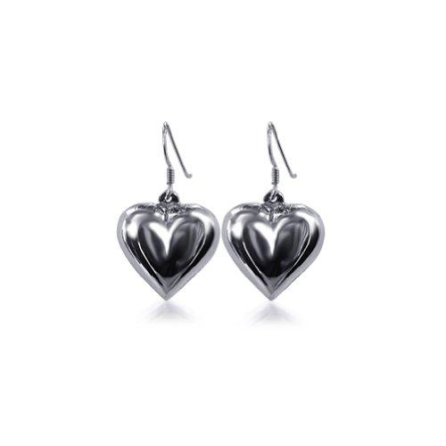 Gem Avenue 925 Sterling Silver Shimmering Heart French Wire Dangle Earrings -