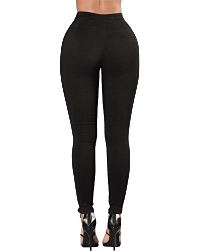 Vaqueros de Cintura Alta Leggings Elásticos Skinny Pantalones Jeans para Mujer Negro