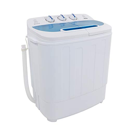 ROVSUN 13.4LBS Portable Twin Tub Washing Machine, Electric Compact Washer, Energy Saving Spin Cycle w/Hose, Great for Home RV Camping Mini Dorms Apartments College Rooms