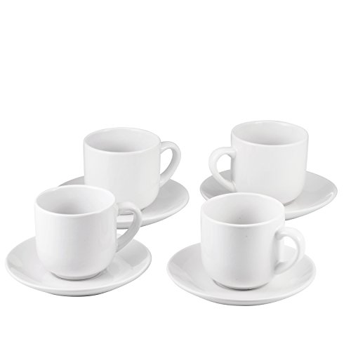 Espresso Cups with Saucers by Bruntmor - 4 ounce - White Ceramic - Set of 4 by Bruntmor