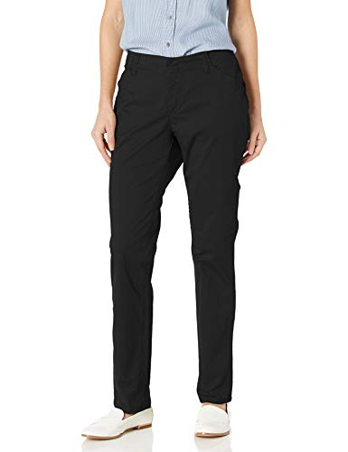 Lee Women's Midrise Fit Essential Chino Pant, Black, 4 Short