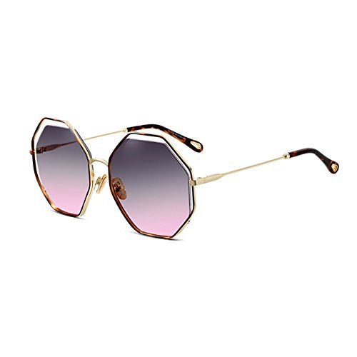 coreana Gris Gran Personalidad sol Tea marco la Gafas poligonal púrpura de Protección Color Metal Mujeres Moda de Té calle Moda HLMMM UV Purple Versión HqYSF6