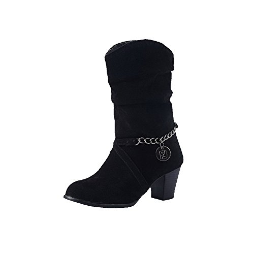 Boots Toe AmoonyFashion Round Black Women's Kitten on Frosted Closed Pull Solid Heels 7rvR7q