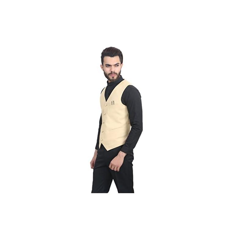 31yKfQz8pIL. SS768  - MANQ Men's V.Neck Five Button Slim Fit Party/Casual Waist Coat - 5 Colors