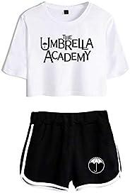 WAWNI The Umbrella Academy Crop Tops Two Piece Set Shorts+Lovely T-Shirt Harajuku Streetwear Girl Sets
