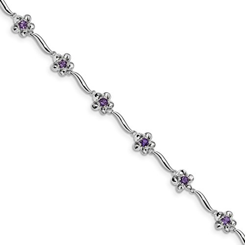 ICE CARATS 925 Sterling Silver Floral Purple Amethyst Bracelet 7.5 Inch Gemstone Fine Jewelry Gift Set For Women Heart by ICE CARATS