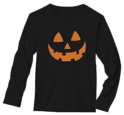 Orange Pumpkin Face Jack O' Lantern Halloween Costume Long Sleeve T-Shirt