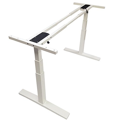 Home Soft Things Boonliving Electronic Height Adjustable New Version Frame, Sit/Stand Desk Ergonomic Workstation with Dual Motor, Heavy Duty, White (Tabletop Not Included)