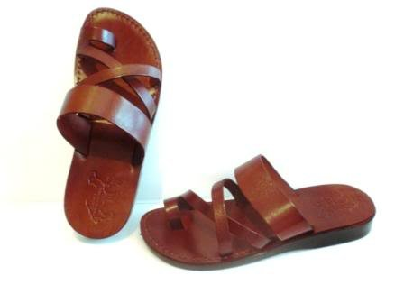 Unisex Genuine Brown Leather Style #008 Jesus Biblical Greek Roman Sandals (45 M -
