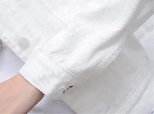 Autunno Lunga Bavero Vintage Moda Outwear Corto Giubbino Bianca Primaverile Chic Donna Di Jacket Cappotto Slim Eleganti Fit Casual Cute Denim Manica Jeans S8Ixzwz