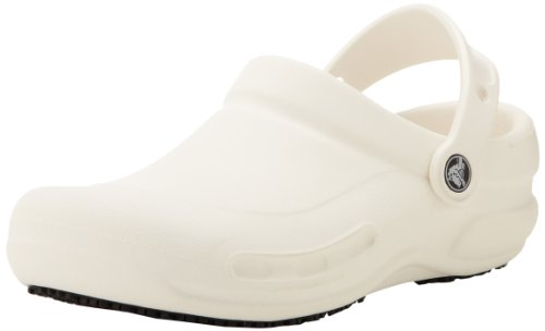 Crocs Men's and Women's Bistro Clog, Slip Resistant Comfort Slip On, Lightweight Nursing or Chef Shoe White, 7 US Women / 5 US Men (Best Mens Nursing Shoes)