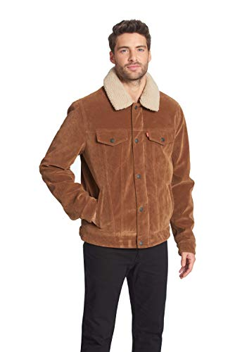 Levi's Men's Buffed Cow Faux Leather Sherpa Trucker, Cognac, Small