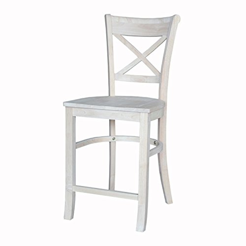 International Concepts Charlotte Counter Height Stool, 24-Inch, Ready to Finish