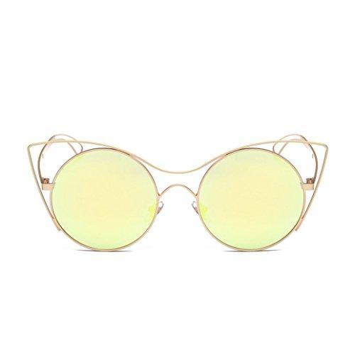 Lunettes de Soleil 2018 Ansenesna Lunettes de soleil en forme dœil de chat, classiques, à monture double - Verres miroir colorés - Protection UV400 Or