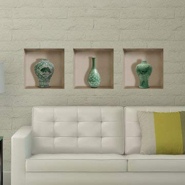 Ceramic Vase 3d Riding Lattice Wall Decals Removable Wall Grid