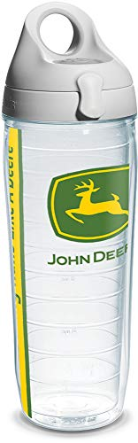 John Deere Kitchen Accessories - Tervis 1131082 John Deere Colossal Tumbler with Wrap and Gray Lid 24oz Water Bottle, Clear
