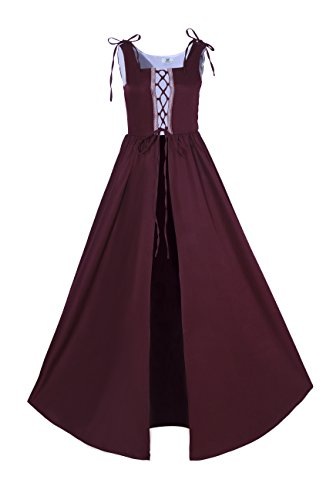 Lemail Womens Renaissance Irish Overdress Medieval Pirate Peasant Costume Coat Burgundy M by Lemail wig