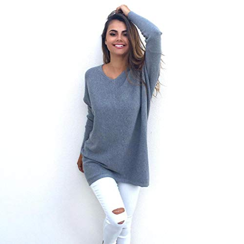 Halffle Casual V-Neck Long Sleeve Fashion Sweater for Women,Loose Long Pullovers Sexy Top for Girls Ladies