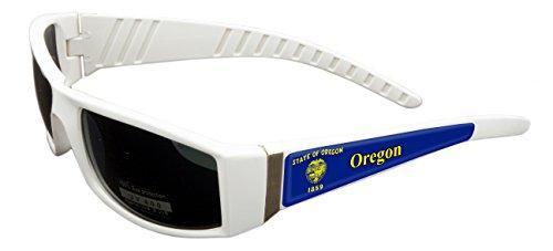 Oregon Design White Frame/Black Lens 60mm Sunglasses Item # - Oregon Sunglasses