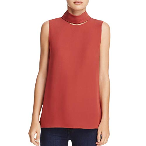 Theory Womens Silk Cut-Out Dress Top Red P
