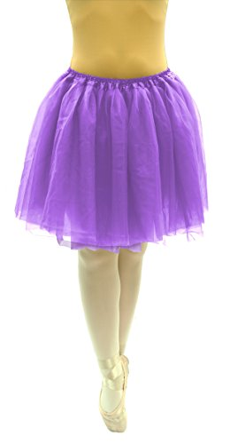 "Dancina Adult Plus Size Classic 5k 10k Fun Color Run Mardi Gras Tutu Pettiskirt Long 19"" Purple"